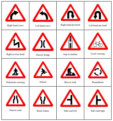 Cautionary signs Road Traffic Rules